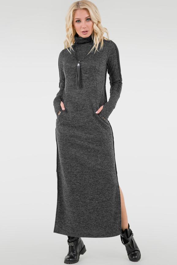 Повседневное платье гольф темно-серого цвета|интернет-магазин vvlen.com