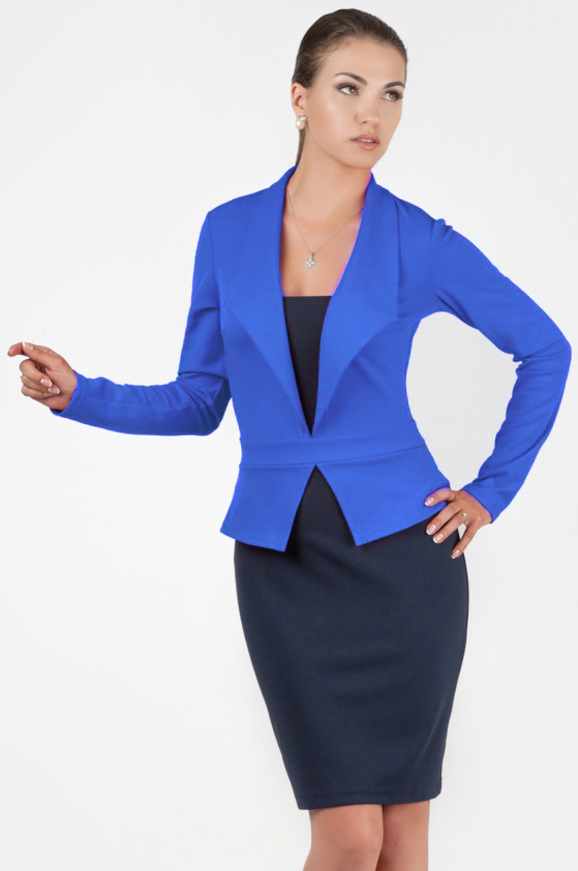Офисное платье футляр синего с голубым цвета|интернет-магазин vvlen.com