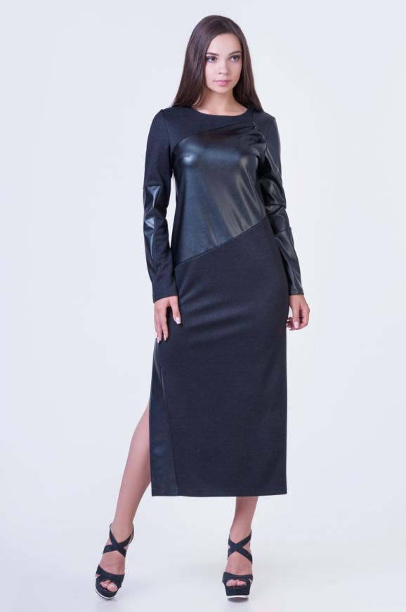 Повседневное платье футляр черного цвета 2377.41|интернет-магазин vvlen.com
