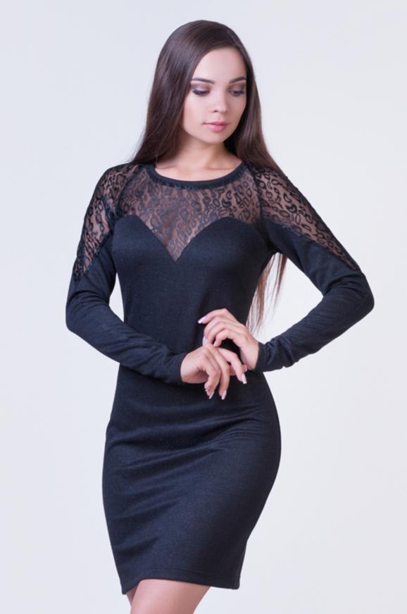 Коктейльное платье футляр черного цвета 2384.41 интернет-магазин vvlen.com