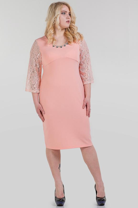 Платье футляр пудры цвета 1-339 интернет-магазин vvlen.com