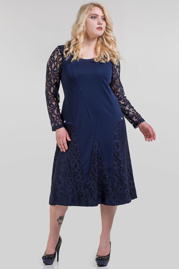 Платье с расклешённой юбкой темно-синего цвета |интернет-магазин vvlen.com