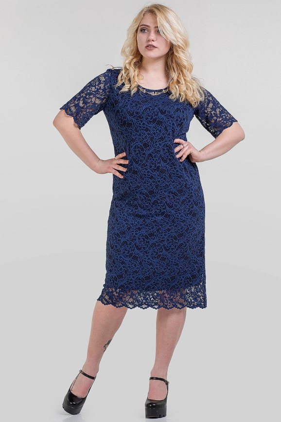 Платье футляр темно-синего цвета 1-1310 интернет-магазин vvlen.com