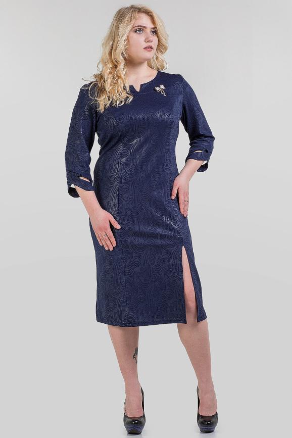 Платье футляр темно-синего цвета 1-1319|интернет-магазин vvlen.com