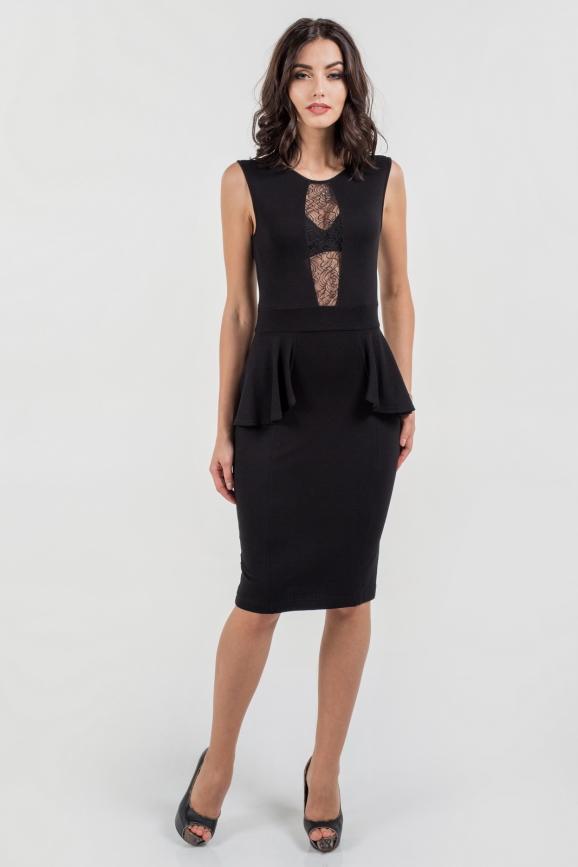 Коктейльное платье футляр черного цвета 1690.2|интернет-магазин vvlen.com
