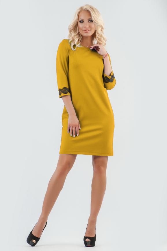 Офисное платье футляр горчичного цвета|интернет-магазин vvlen.com