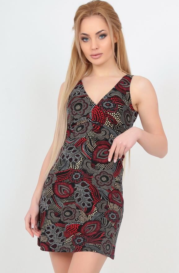 Летнее платье трапеция бордового c черным цвета 433.17|интернет-магазин vvlen.com