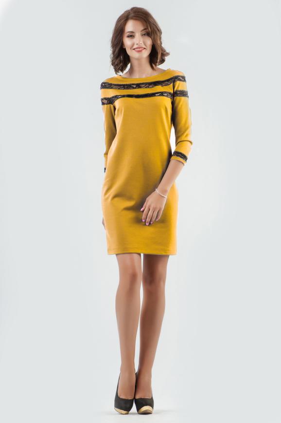 Повседневное платье футляр горчичного цвета|интернет-магазин vvlen.com
