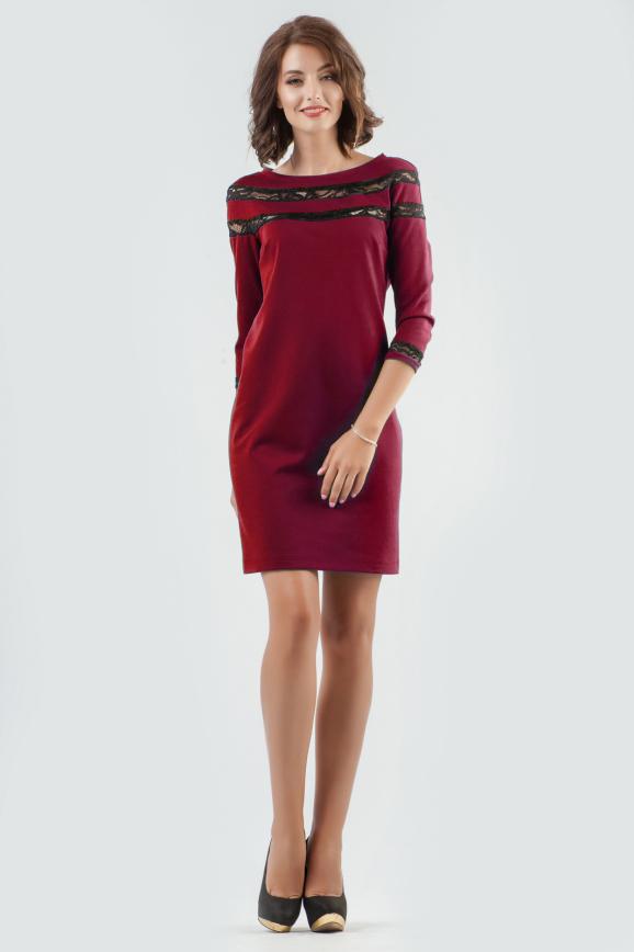 Повседневное платье футляр вишневого цвета 2580.47|интернет-магазин vvlen.com