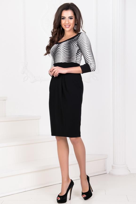 Офисное платье с юбкой тюльпан черного цвета 858.1|интернет-магазин vvlen.com