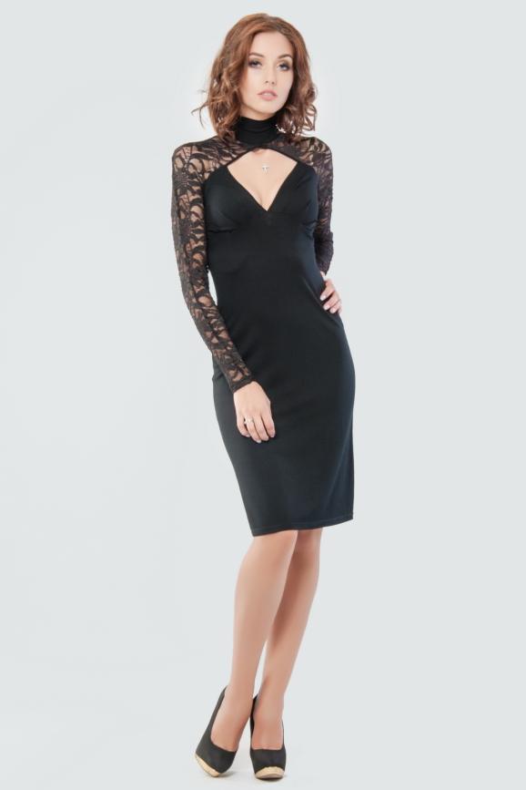 Коктейльное платье футляр черного цвета 870.2|интернет-магазин vvlen.com