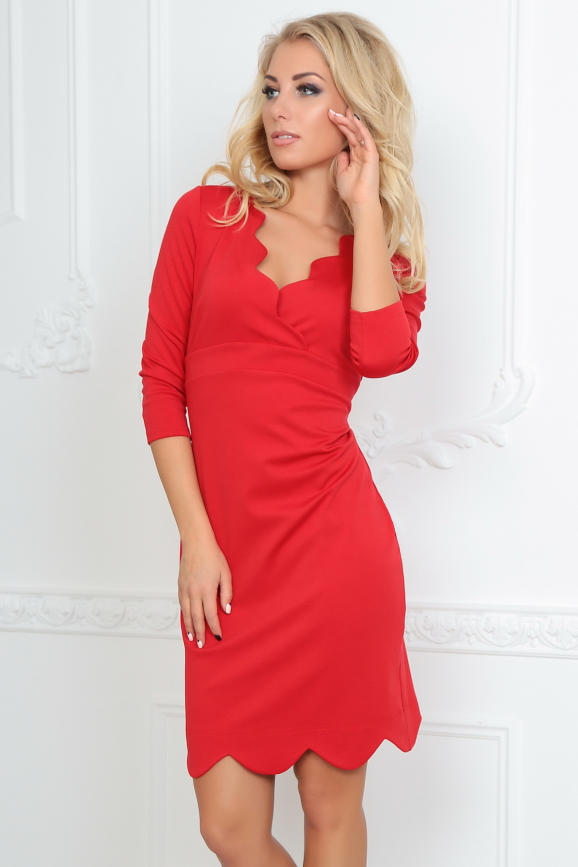 Повседневное платье футляр красного цвета 2489.47|интернет-магазин vvlen.com