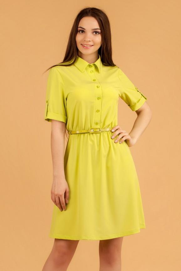 Офисное платье с расклешённой юбкой зеленого цвета|интернет-магазин vvlen.com