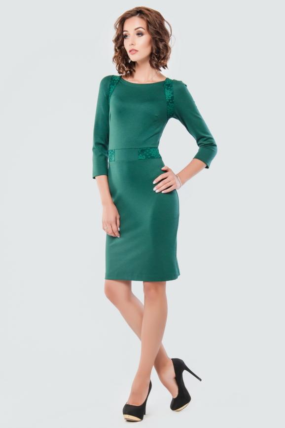 Коктейльное платье футляр темно-зеленого цвета 1578-2.47|интернет-магазин vvlen.com