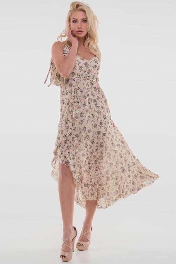 Летнее платье с длинной юбкой бежевого цвета 115vl1 интернет-магазин vvlen.com