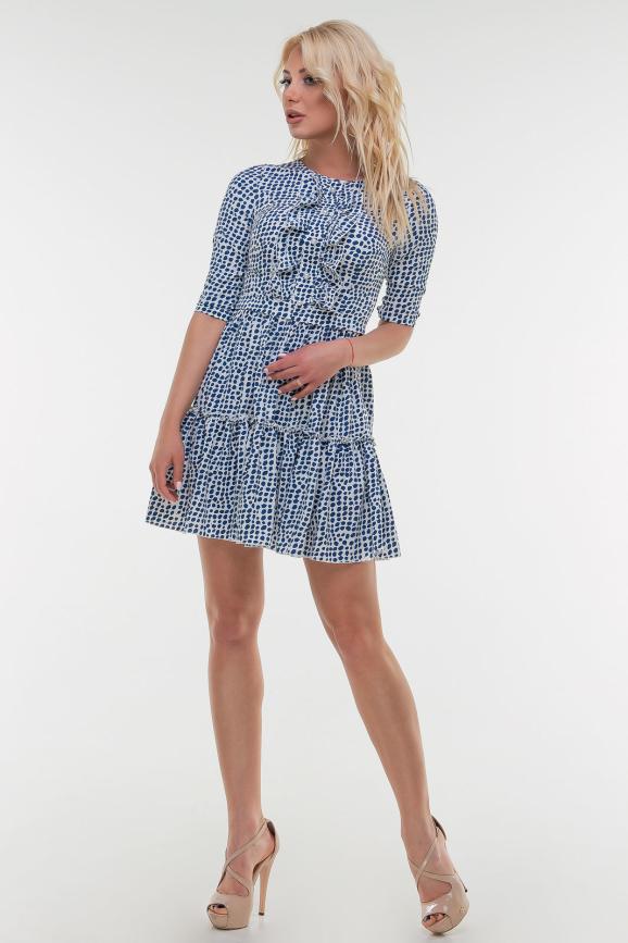 Летнее платье с длинной юбкой синего цвета 16121vl1|интернет-магазин vvlen.com