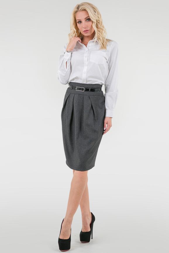 Юбка тюльпан со шлицей сзади цвет темно-серый |интернет-магазин vvlen.com