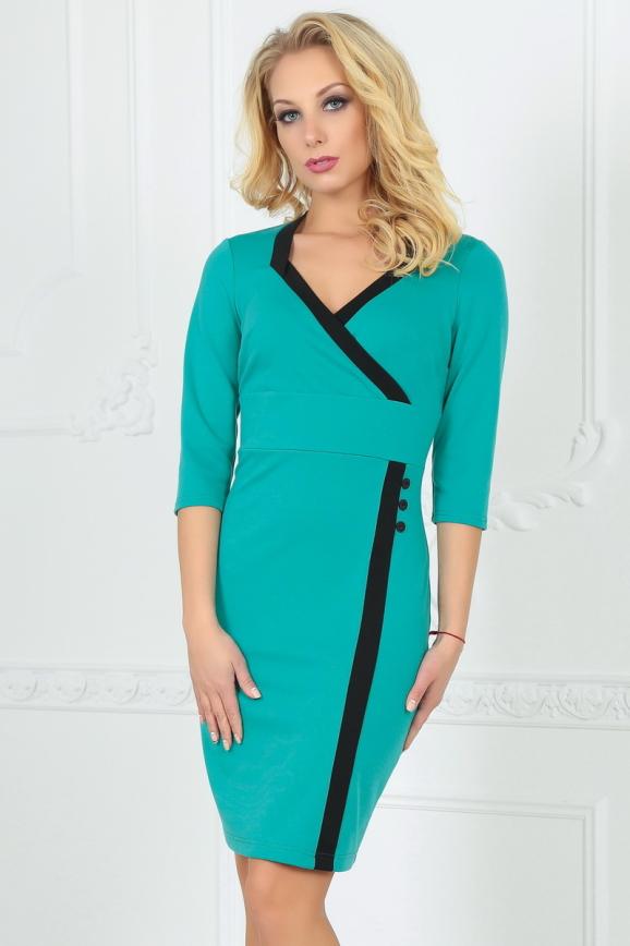 Офисное платье футляр мятного цвета|интернет-магазин vvlen.com