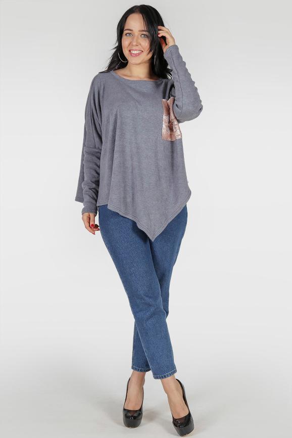 Туника асимметричная серого цвета 380|интернет-магазин vvlen.com