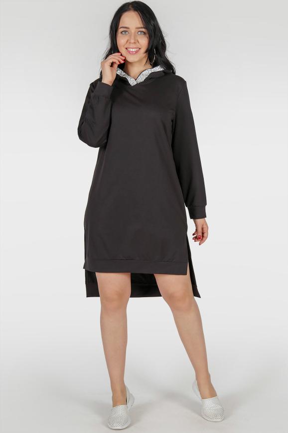Платье туника черного цвета |интернет-магазин vvlen.com