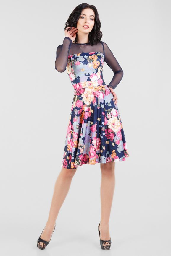 Коктейльное платье с расклешённой юбкой синего с розовым цвета|интернет-магазин vvlen.com