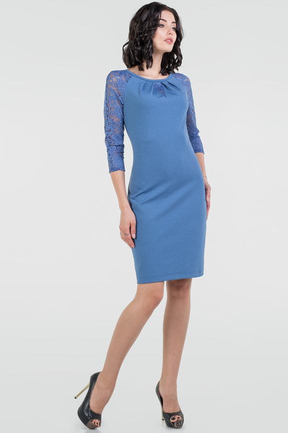 Коктейльное платье футляр джинса цвета 2528.47|интернет-магазин vvlen.com