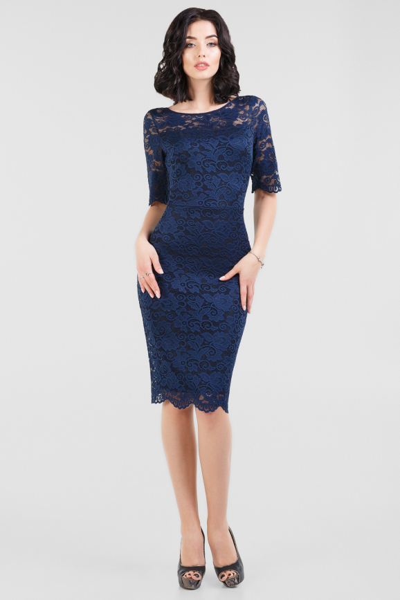 Коктейльное платье футляр темно-синего цвета 2670.12|интернет-магазин vvlen.com