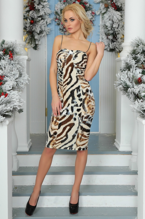 Коктейльное платье-комбинация молочного тона цвета 996-1.26|интернет-магазин vvlen.com