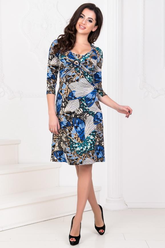 Повседневное платье с расклешённой юбкой синего тона цвета 1020.17|интернет-магазин vvlen.com