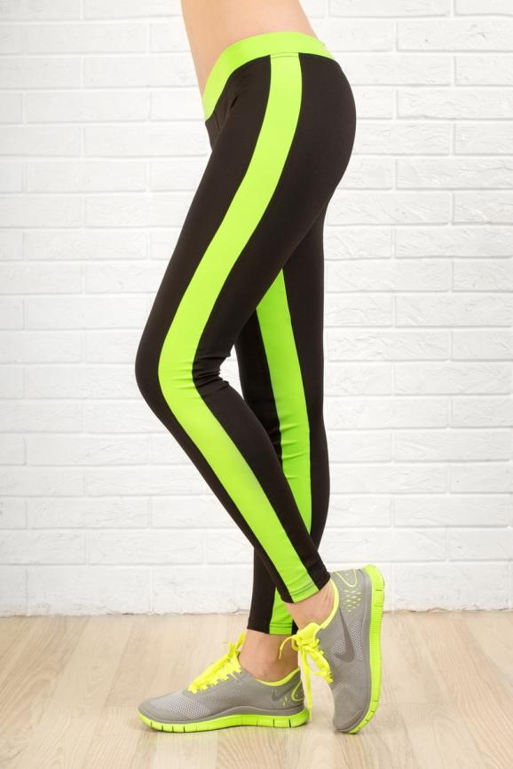 Лосины для фитнеса черного с зеленым цвета 2310.67 интернет-магазин vvlen.com