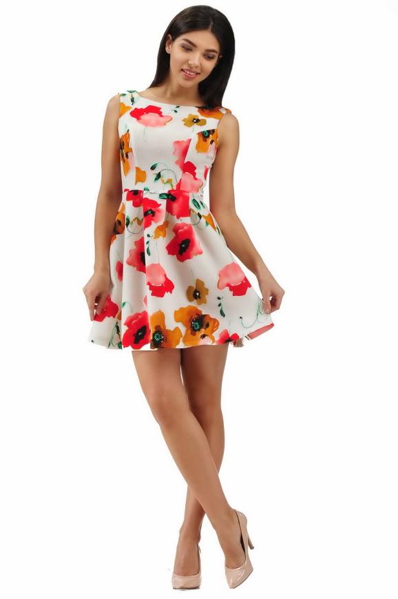 Коктейльное платье с расклешённой юбкой белого с красным цвета 2278.63|интернет-магазин vvlen.com