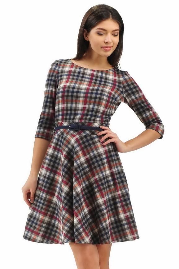 Повседневное платье с расклешённой юбкой синего с красным цвета 2281.41|интернет-магазин vvlen.com