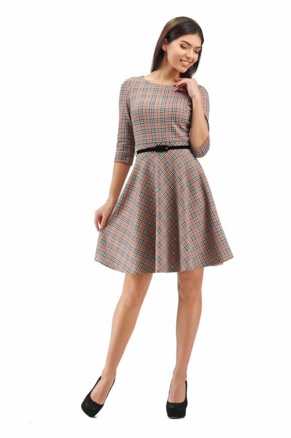 Повседневное платье с расклешённой юбкой бежевого цвета 2281.41|интернет-магазин vvlen.com