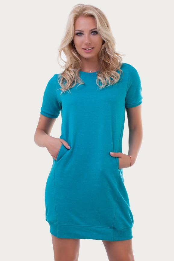 Спортивное платье  бирюзового цвета 6001|интернет-магазин vvlen.com