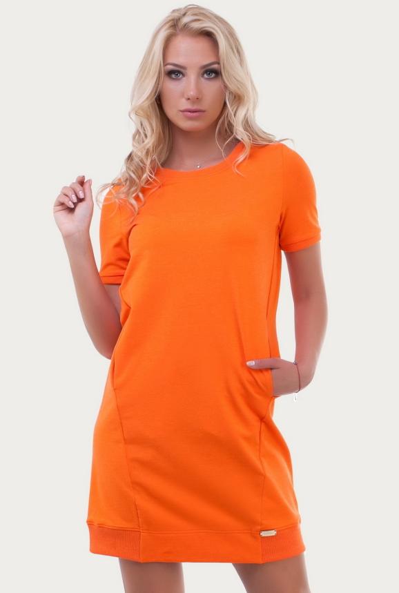 Спортивное платье  оранжевого цвета 6001|интернет-магазин vvlen.com