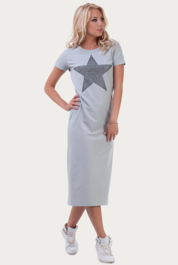 Повседневное спортивное платье серого цвета 6002-1|интернет-магазин vvlen.com