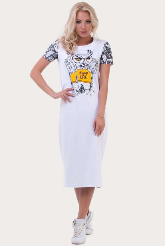 Спортивное платье  белого цвета 6002 интернет-магазин vvlen.com