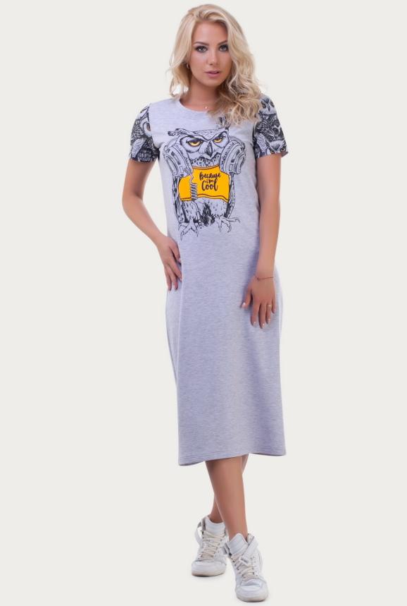 Спортивное платье  светло-серого цвета|интернет-магазин vvlen.com