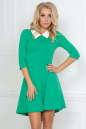 Повседневное платье с расклешённой юбкой зеленого цвета No0|интернет-магазин vvlen.com