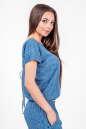 Блуза голубого с белым цвета 2374 .84d26 No1|интернет-магазин vvlen.com