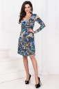 Повседневное платье с расклешённой юбкой синего тона цвета 1021.17 No1|интернет-магазин vvlen.com