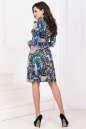 Повседневное платье с расклешённой юбкой синего тона цвета 1021.17 No2|интернет-магазин vvlen.com