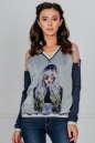Блуза серого с синим цвета No0|интернет-магазин vvlen.com
