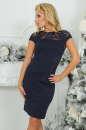 Коктейльное платье футляр темно-синего цвета 2452.47 No0|интернет-магазин vvlen.com