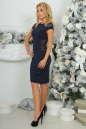 Коктейльное платье футляр темно-синего цвета 2452.47 No3|интернет-магазин vvlen.com