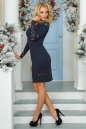 Коктейльное платье футляр темно-синего цвета 2443.47 No2|интернет-магазин vvlen.com