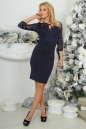 Коктейльное платье футляр темно-синего цвета 2445.47 No1|интернет-магазин vvlen.com