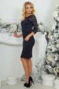 Коктейльное платье футляр темно-синего цвета 2445.47 No4|интернет-магазин vvlen.com