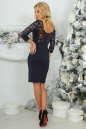 Коктейльное платье футляр темно-синего цвета 2445.47 No5|интернет-магазин vvlen.com