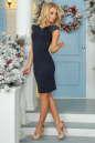 Коктейльное платье футляр темно-синего цвета 2203.47 No2|интернет-магазин vvlen.com